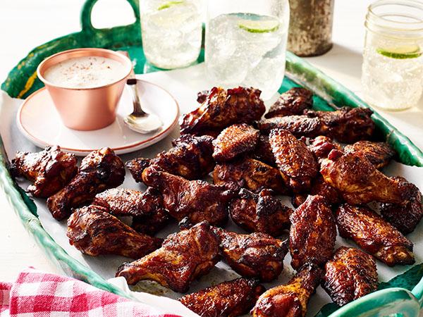 Smoked Chicken Wings with Horseradish white bbq Sauce